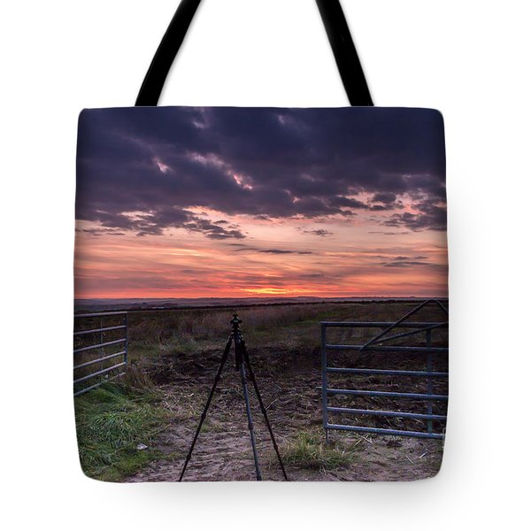 Wolds Sunset 2 Tote Bag by David  Hollingworth