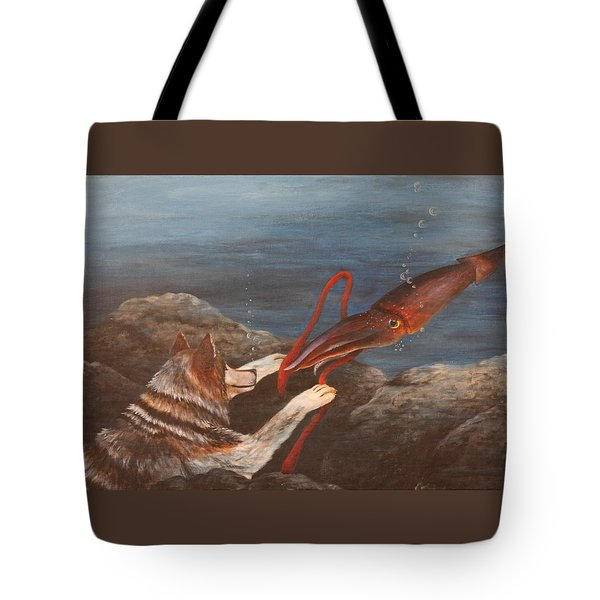 Wolf And Squid Tote Bag