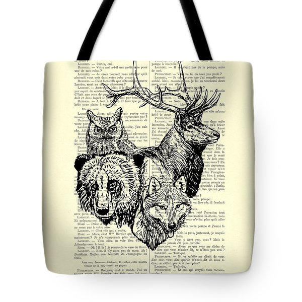 Wolf, Bear, Deer, Owl Wildlife Animals Black And White Tote Bag