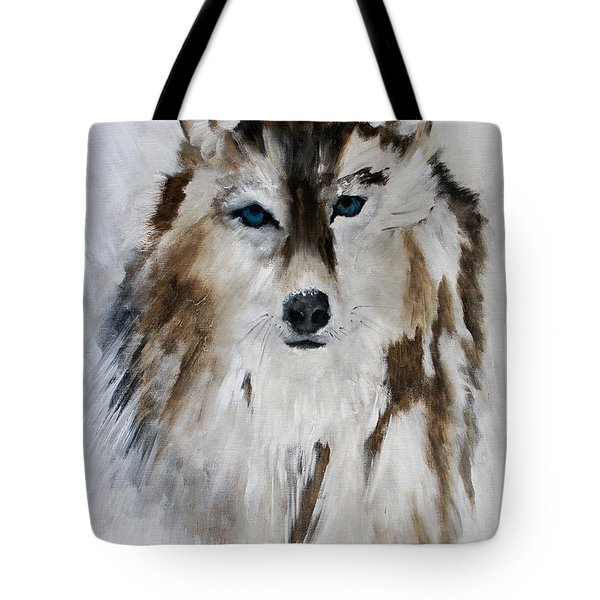 Wolf - Blue Star Tote Bag by Barbie Batson