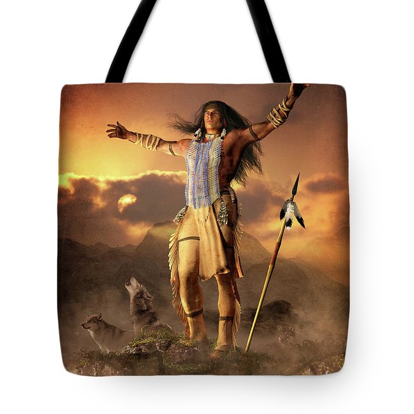 Tote Bag featuring the mixed media Wolf Clan by Shanina Conway