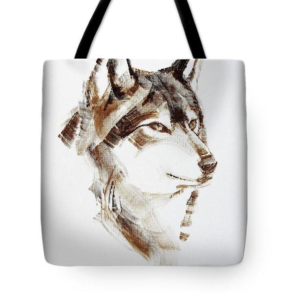 Wolf Head Brush Drawing Tote Bag