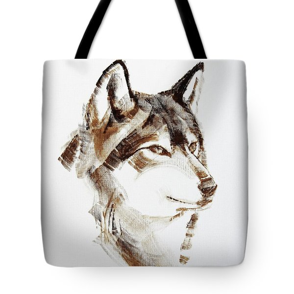 Wolf Head Brush Drawing Tote Bag