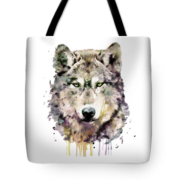 Wolf Head Tote Bag by Marian Voicu