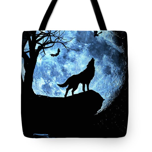 Tote Bag featuring the photograph Wolf Howling At Full Moon With Bats by Justin Kelefas