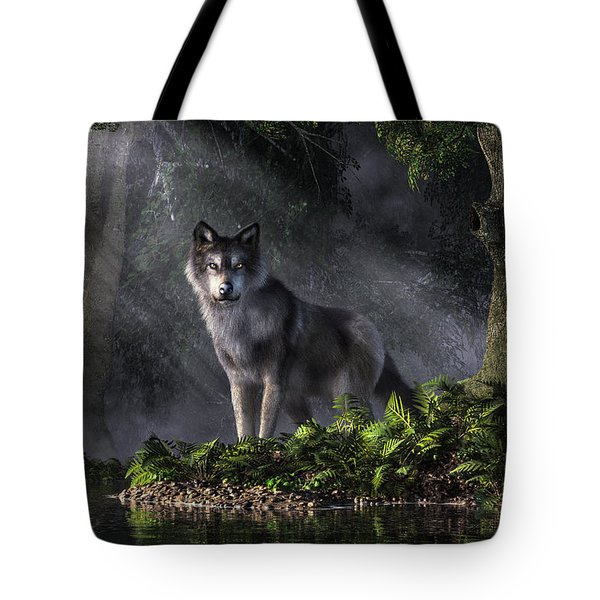 Wolf In The Forest Tote Bag by Daniel Eskridge