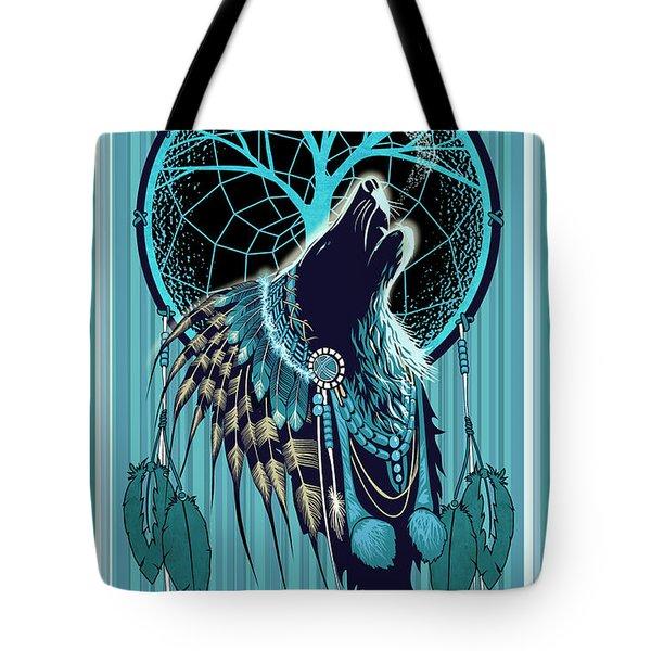 Wolf Indian Shaman Tote Bag
