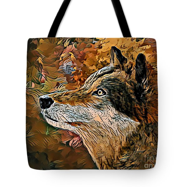 Tote Bag featuring the painting Wolf by Lita Kelley