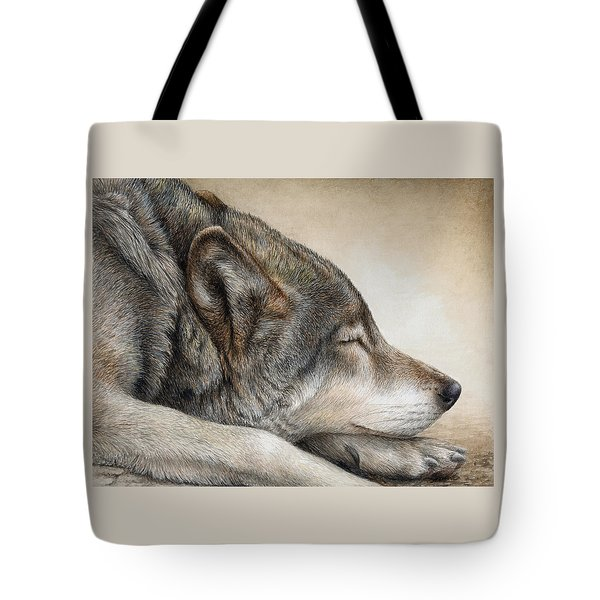 Tote Bag featuring the painting Wolf Nap by Pat Erickson