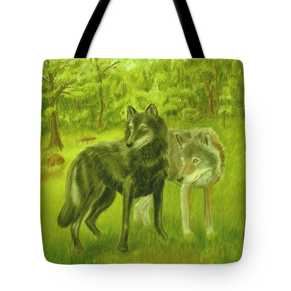 Wolf Pair Tote Bag by Ruth Seal