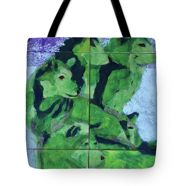 Tote Bag featuring the painting Green Pack Of Wolves by Donald J Ryker III