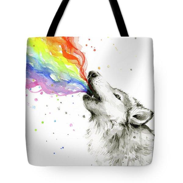 Wolf Rainbow Watercolor Tote Bag by Olga Shvartsur