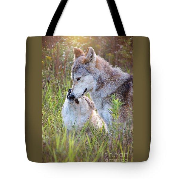 Wolf Soul Mates Tote Bag