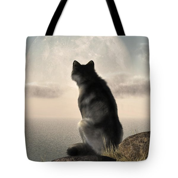 Wolf Watching The Moonrise Tote Bag by Daniel Eskridge