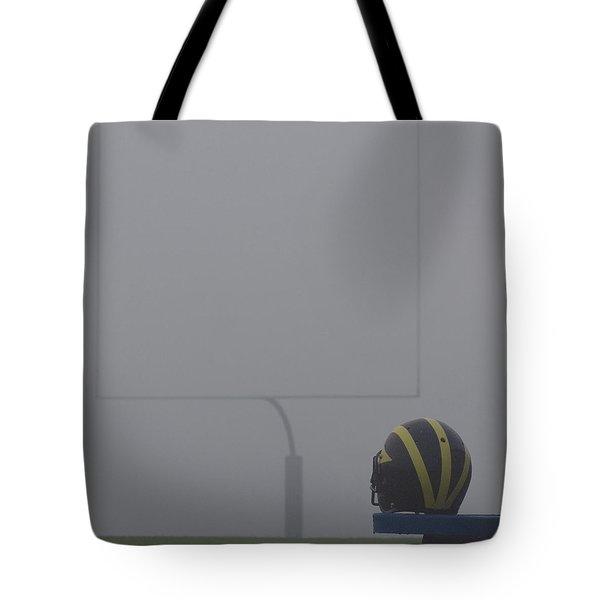 Wolverine Helmet In Heavy Morning Fog Tote Bag