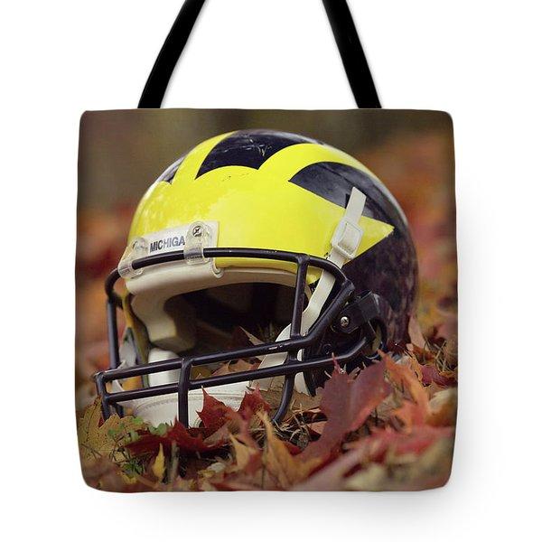 Wolverine Helmet In October Leaves Tote Bag