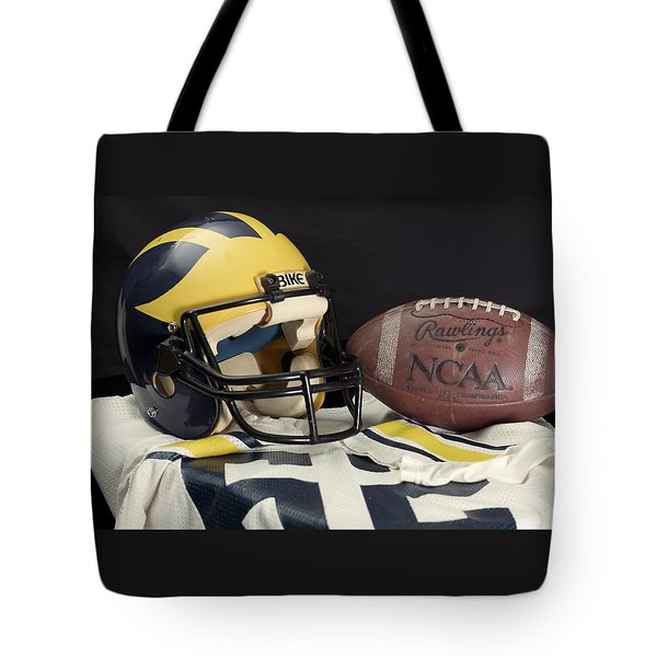 Wolverine Helmet With Jersey And Football Tote Bag