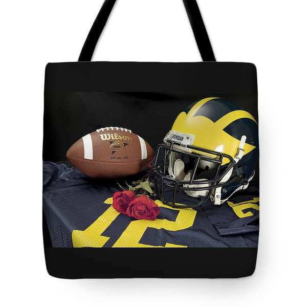Wolverine Helmet With Roses, Jersey, And Football Tote Bag