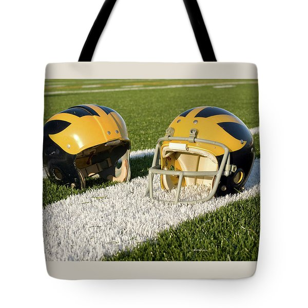 Wolverine Helmets From Different Eras On The Field Tote Bag