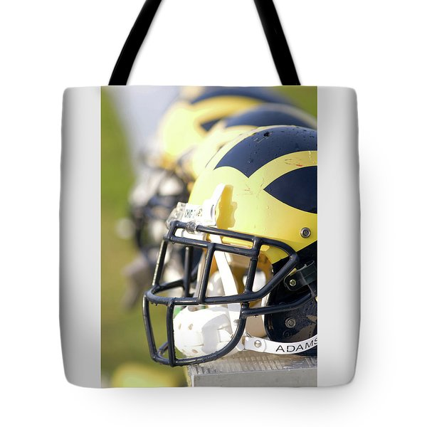 Wolverine Helmets On A Bench In The Morning Tote Bag