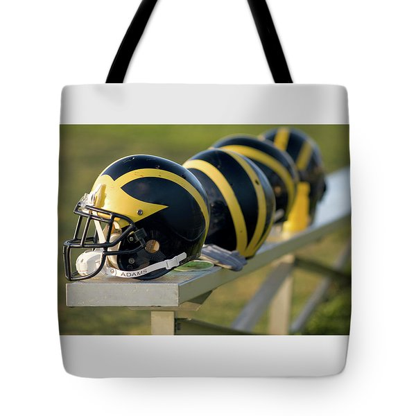 Wolverine Helmets On A Bench Tote Bag