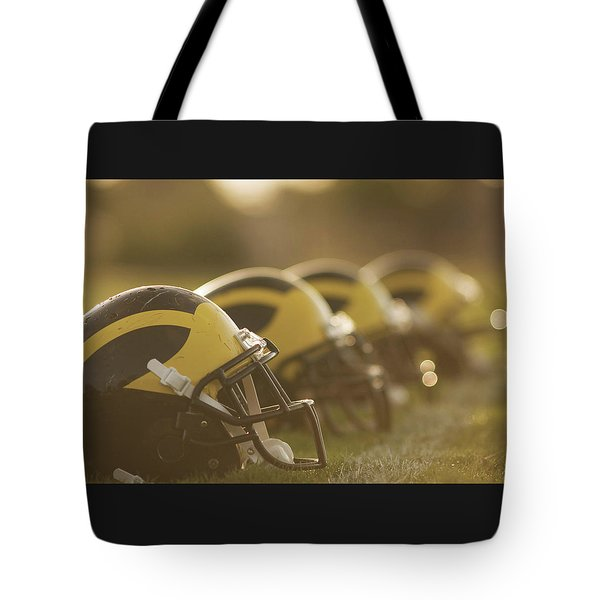Wolverine Helmets Sparkling In Dawn Sunlight Tote Bag