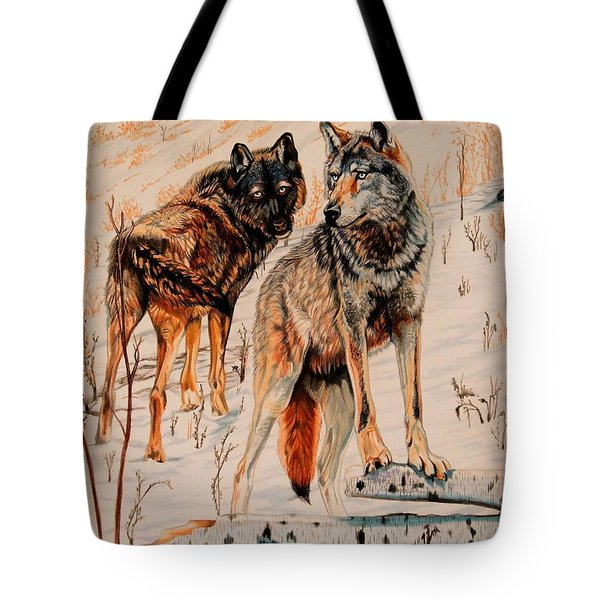 Wolves At Day Break Tote Bag