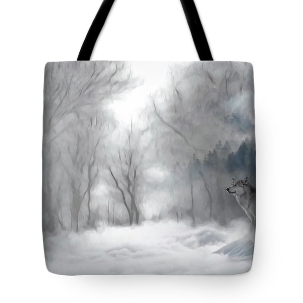 Wolves In The Mist Tote Bag