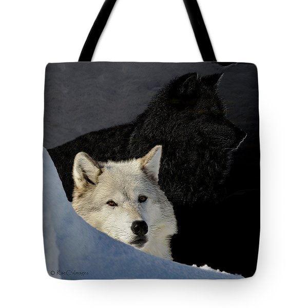 Tote Bag featuring the digital art Wolves, Real And Surreal by Kae Cheatham