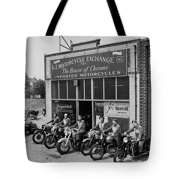 The Motor Maids Of America Outside The Shop They Used As Their Headquarters, 1950. Tote Bag by Lawrence Christopher
