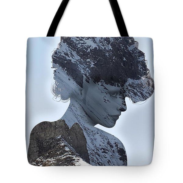 Woman And A Snowy Mountain Tote Bag