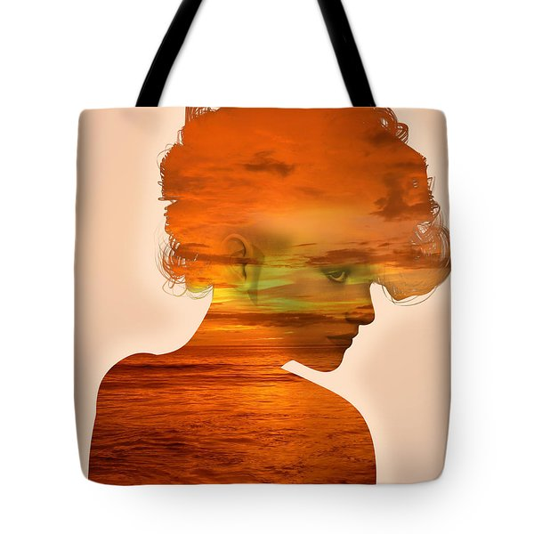 Woman And A Sunset Tote Bag