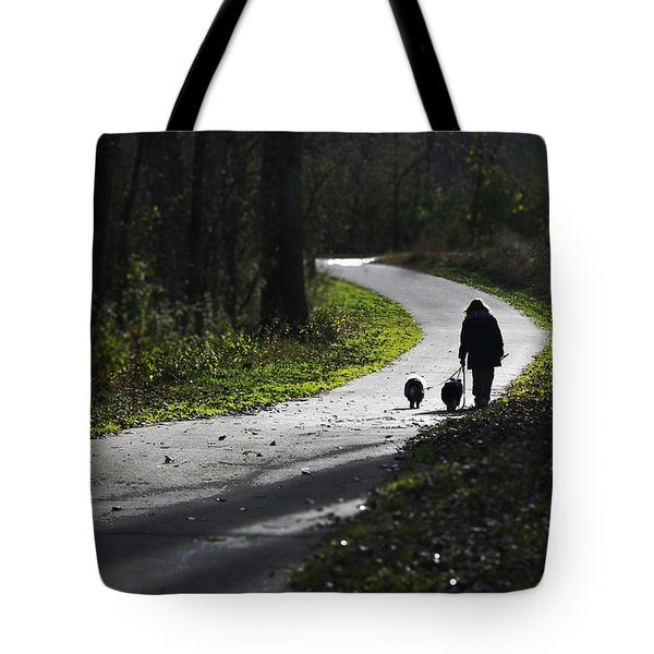 Woman And Border Collies Tote Bag