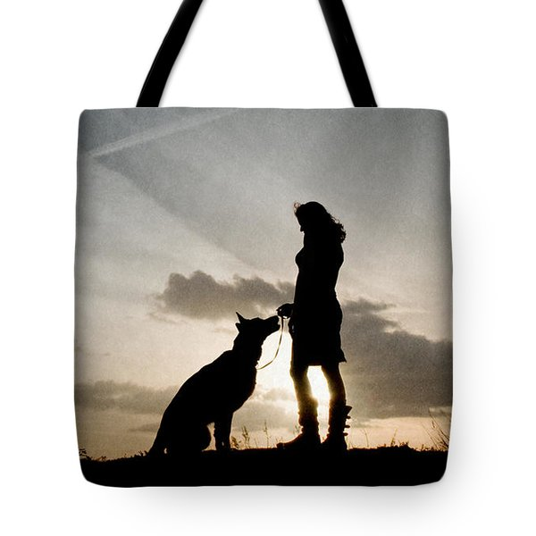 Woman And Dog  Tote Bag