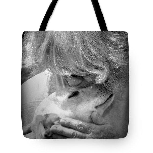 Woman And Dog Tote Bag