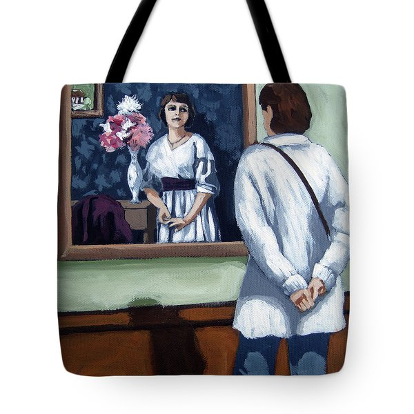 Tote Bag featuring the painting Woman At Art Museum Figurative Painting by Linda Apple