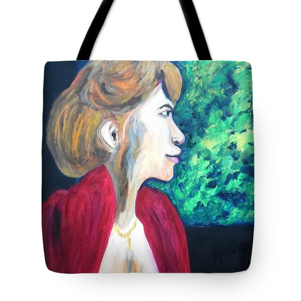 Tote Bag featuring the painting Woman At The Window by Esther Newman-Cohen