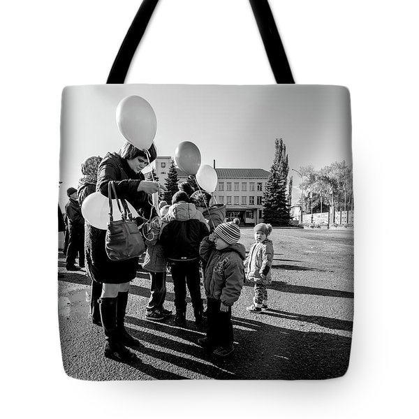 Tote Bag featuring the photograph Woman Balloon And Boy by John Williams