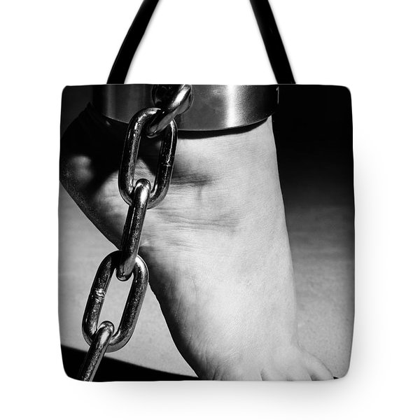 Woman Barefoot In Steel Cuffes Tote Bag