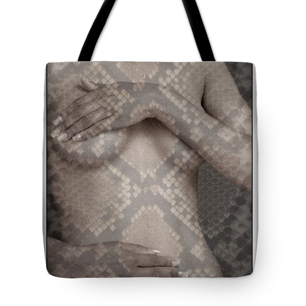 Woman Covering Her Breasts Tote Bag