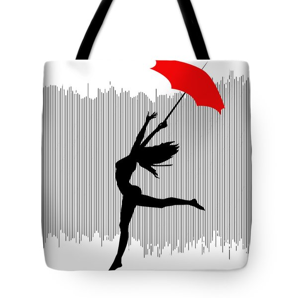 Woman Dancing In The Rain With Red Umbrella Tote Bag