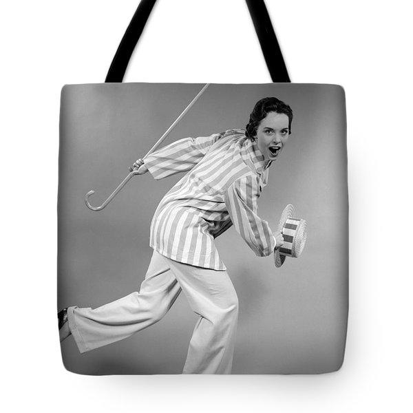 Woman Dancing In Vaudeville Costume Tote Bag