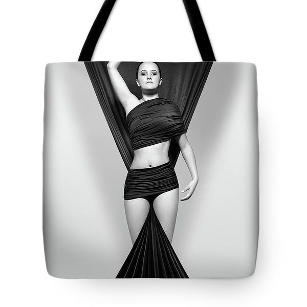 Woman Draped In Black Cloth Tote Bag