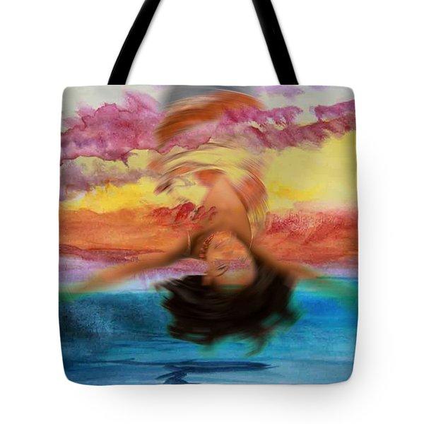 Woman Engulfed Tote Bag