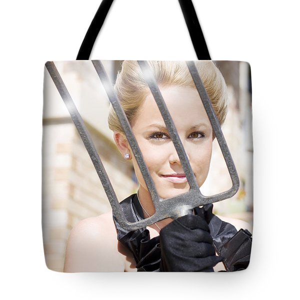 Woman Giving The Garden Forks Tote Bag