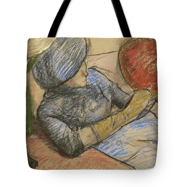 Woman Holding A Hat In Her Hand Tote Bag