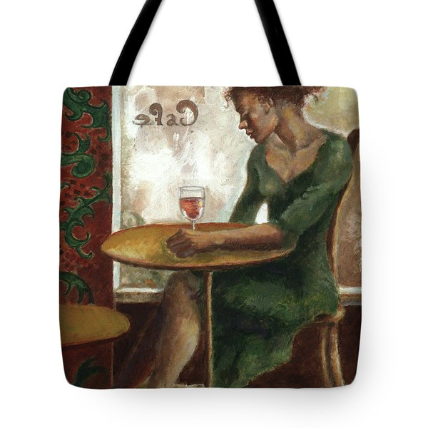Woman In A Paris Cafe Tote Bag