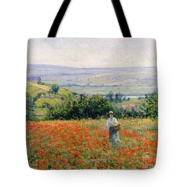 Woman In A Poppy Field Tote Bag