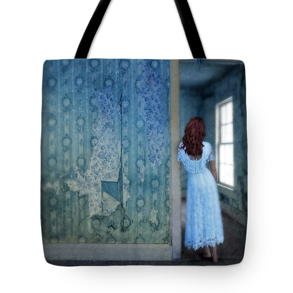 Woman In Abandoned House Tote Bag by Jill Battaglia
