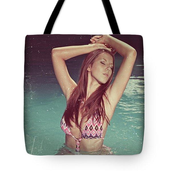 Woman In Bikini In The Water And Retro Look Image Finish Tote Bag